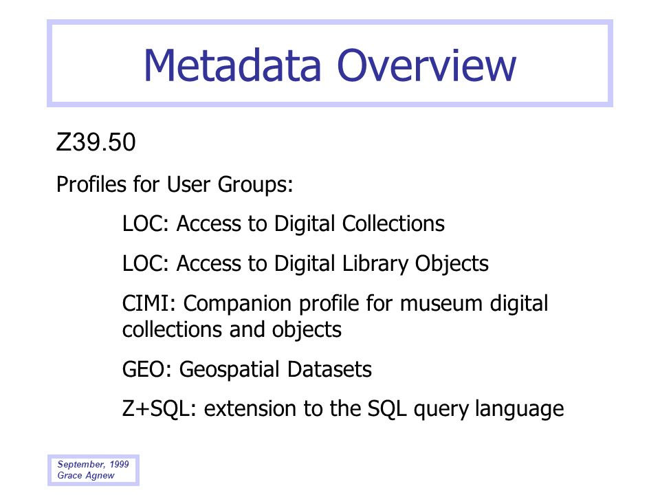 Metadata Overview Z39.50 Profiles for User Groups: