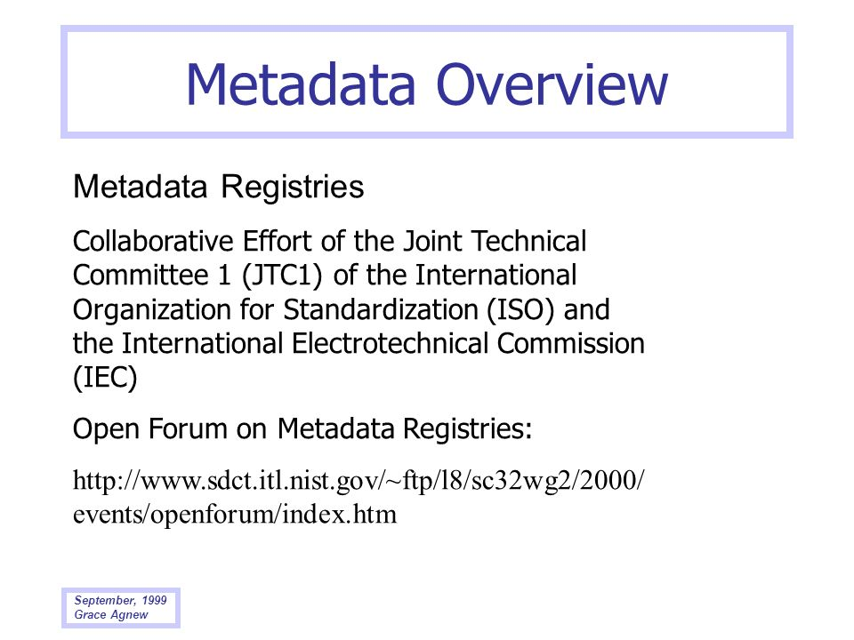 Metadata Overview Metadata Registries