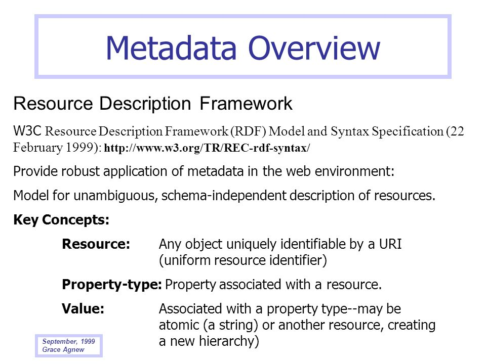 Metadata Overview Resource Description Framework