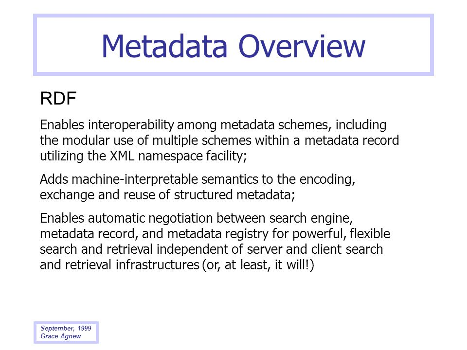 Metadata Overview RDF.