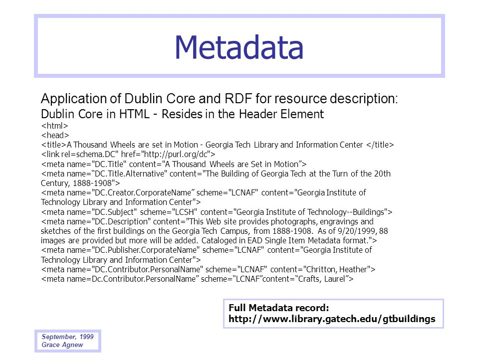 Metadata Application of Dublin Core and RDF for resource description: Dublin Core in HTML - Resides in the Header Element.
