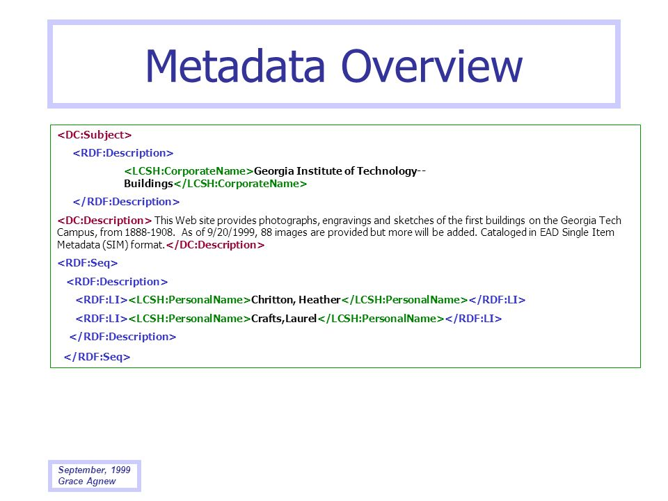 Metadata Overview <DC:Subject> <RDF:Description>