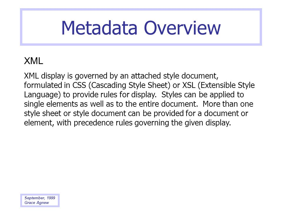 Metadata Overview XML.