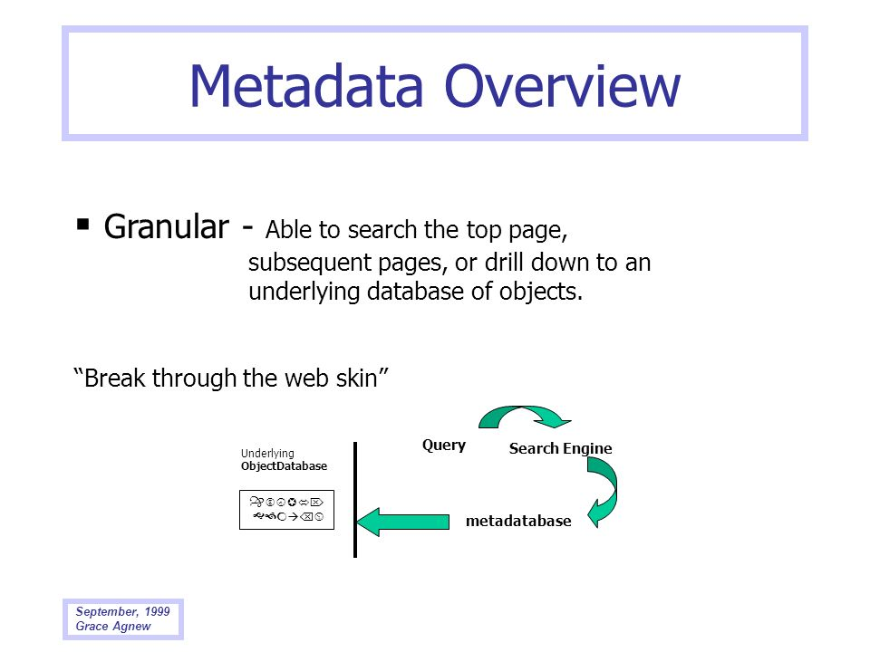 Metadata Overview  Granular - Able to search the top page, subsequent pages, or drill down to an underlying database of objects.