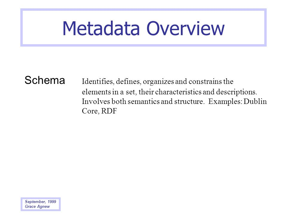 Metadata Overview