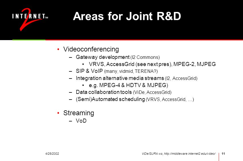 Areas for Joint R&D Videoconferencing Streaming