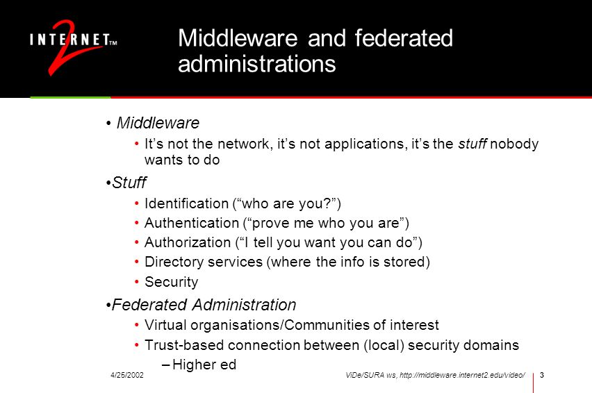 Middleware and federated administrations
