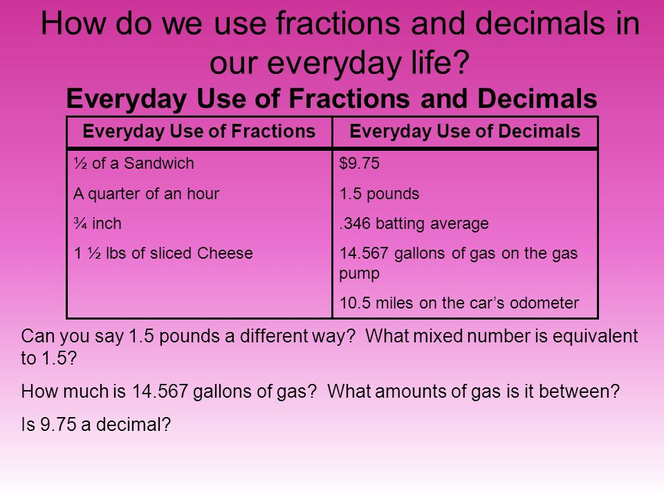 how we use fractions everyday Everyday uses of decimals how do we use decimals in our daily lives what are the uses of fractions and decimals in our daily lives.