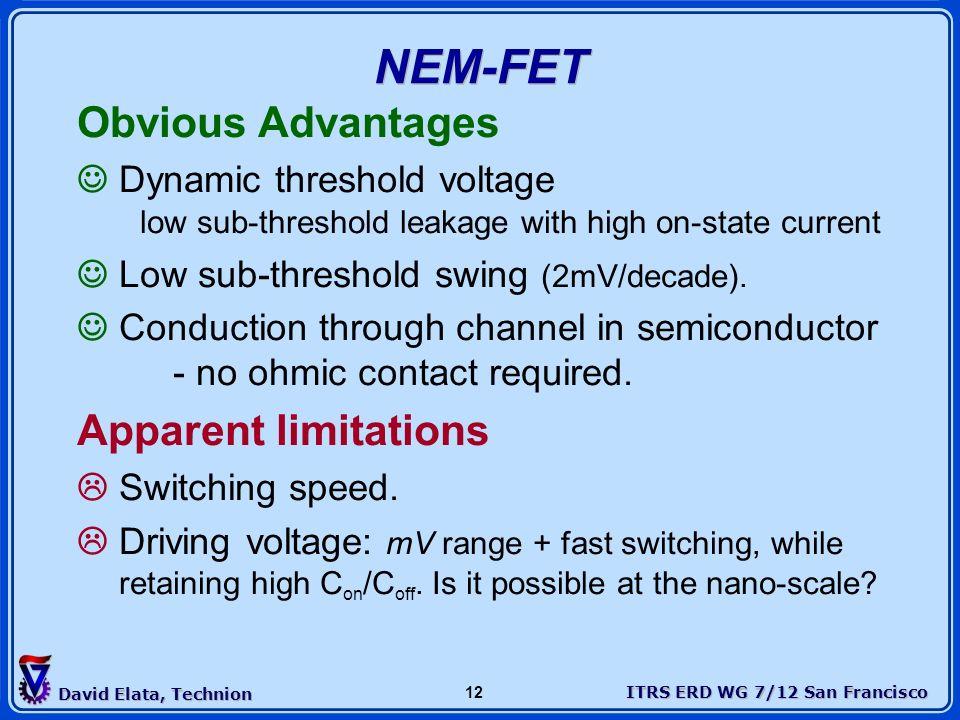 NEM-FET Obvious Advantages Apparent limitations