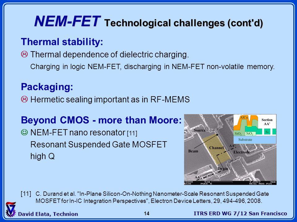 NEM-FET Technological challenges (cont d)