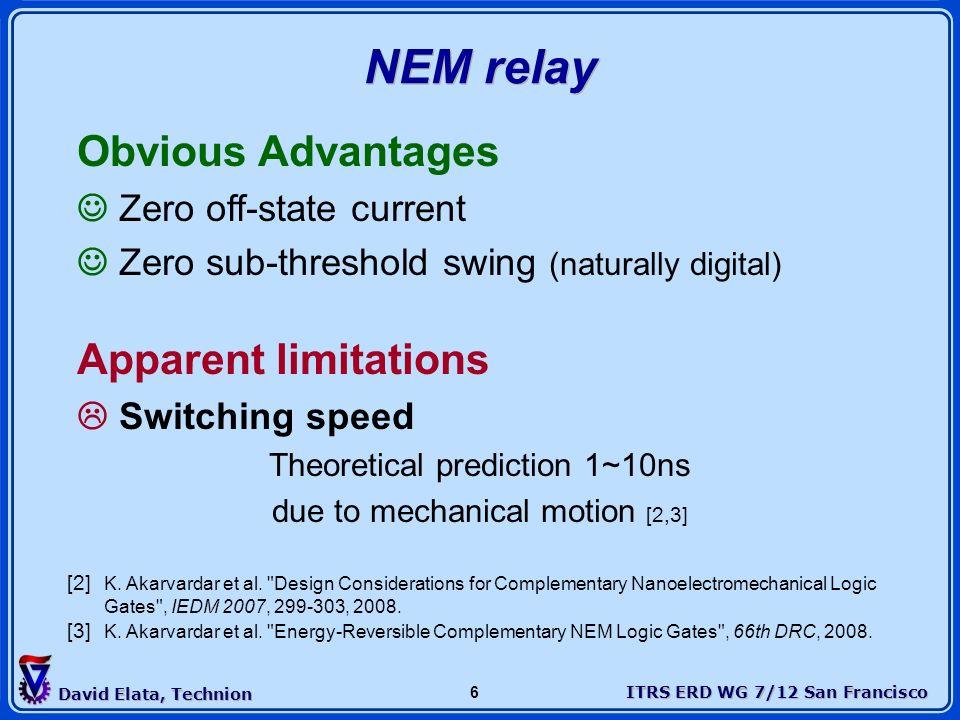 NEM relay Obvious Advantages Apparent limitations