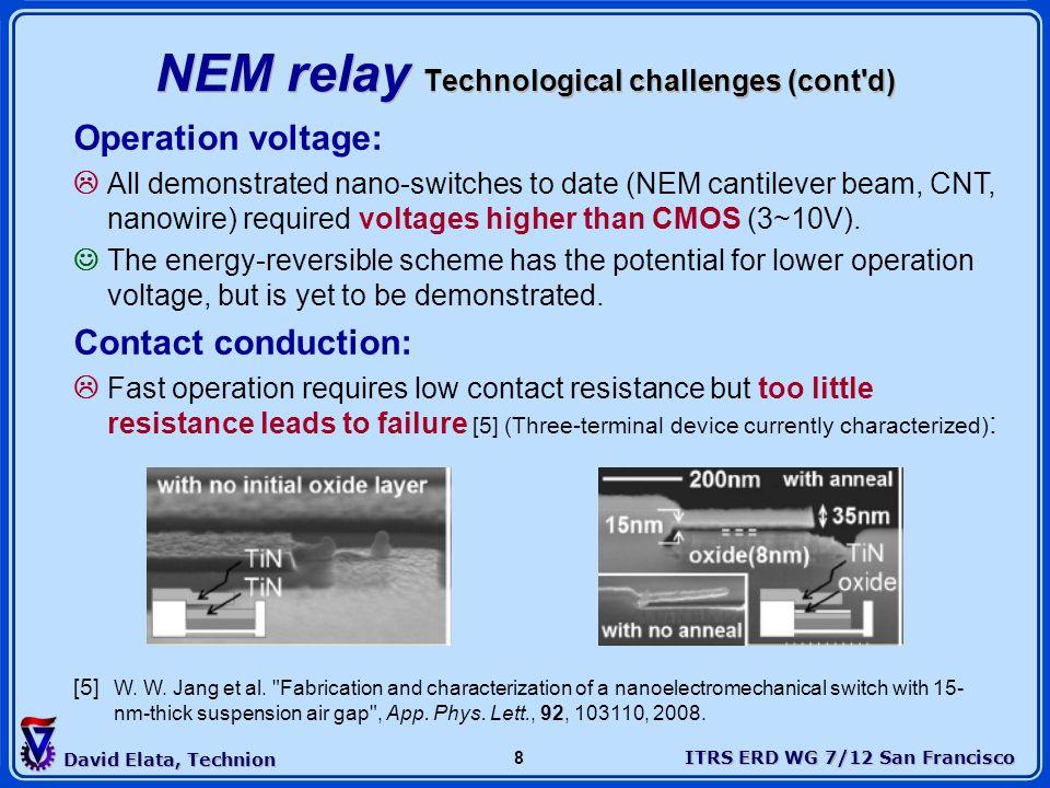 NEM relay Technological challenges (cont d)