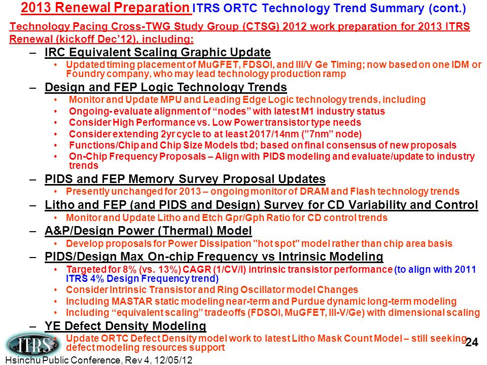 2013 Renewal Preparation ITRS ORTC Technology Trend Summary (cont.)