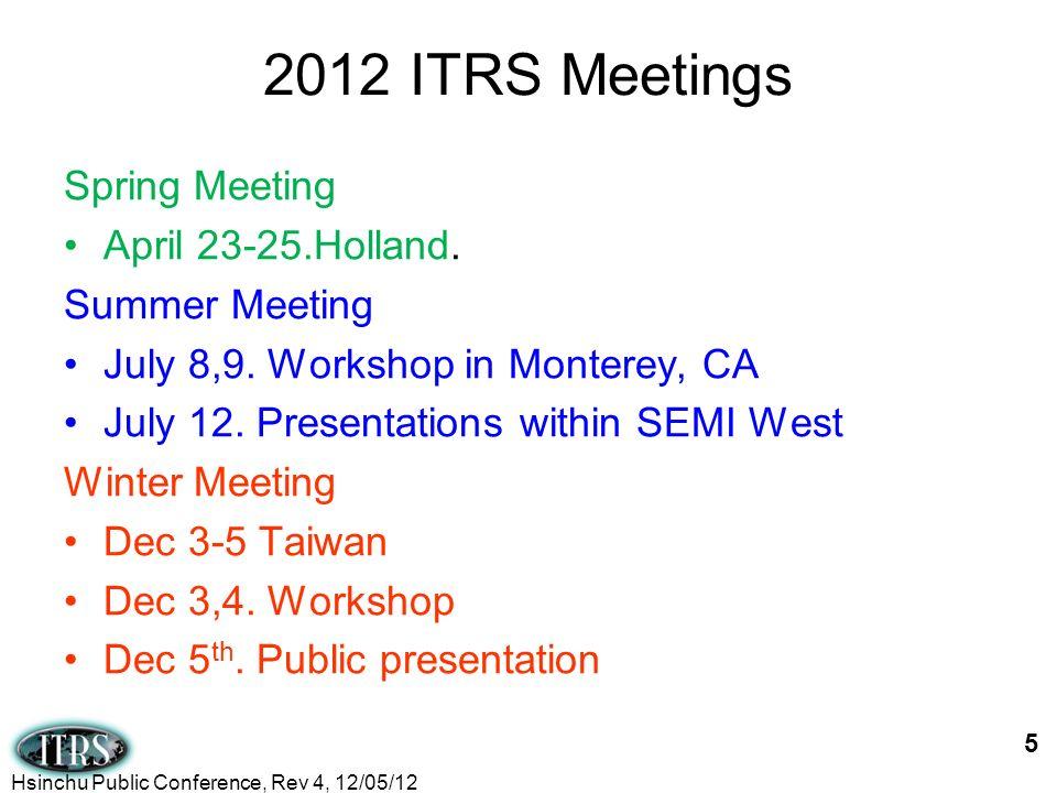 2012 ITRS Meetings Spring Meeting April 23-25.Holland. Summer Meeting