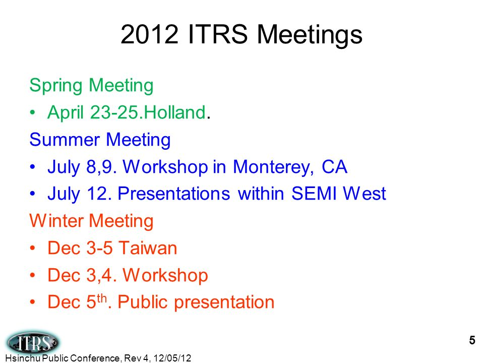 2012 ITRS Meetings Spring Meeting April Holland. Summer Meeting