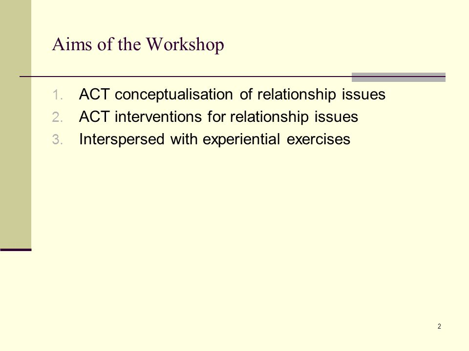 Aims of the Workshop ACT conceptualisation of relationship issues