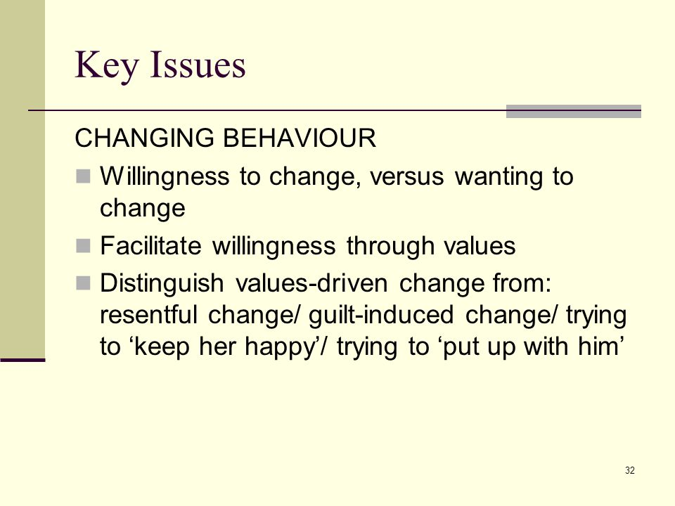 Key Issues CHANGING BEHAVIOUR