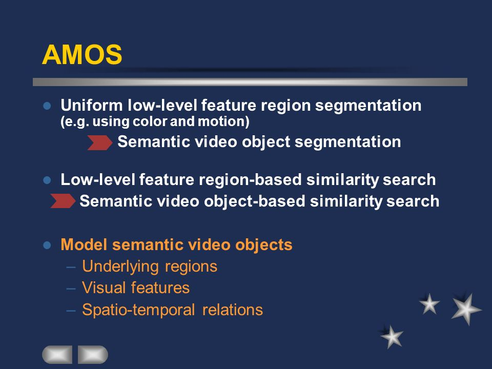AMOS Uniform low-level feature region segmentation (e.g. using color and motion) Semantic video object segmentation.