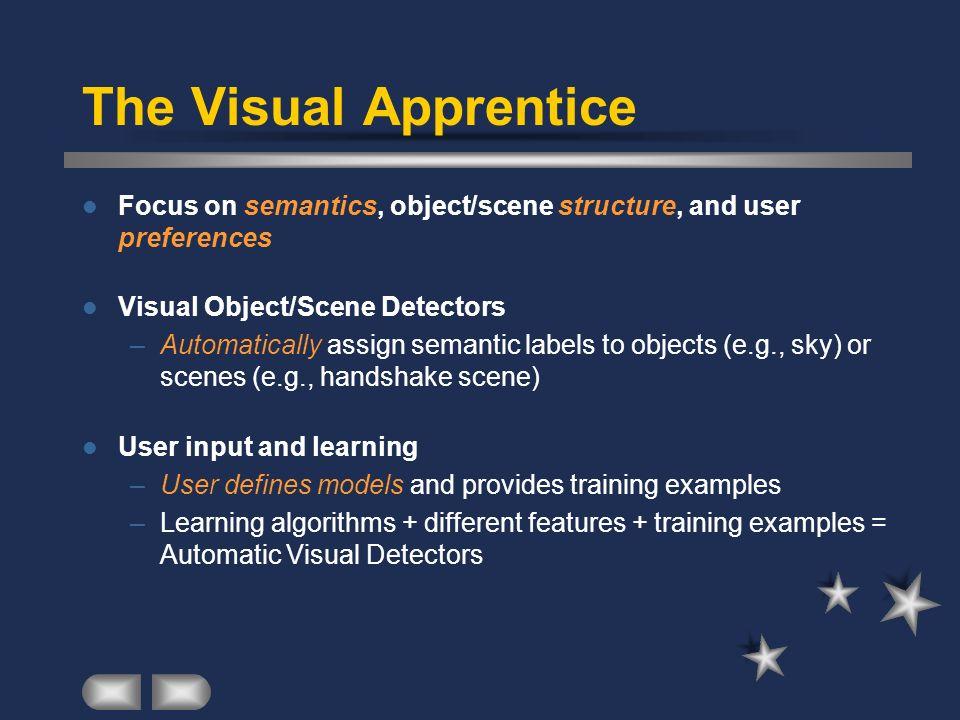 The Visual Apprentice Focus on semantics, object/scene structure, and user preferences. Visual Object/Scene Detectors.