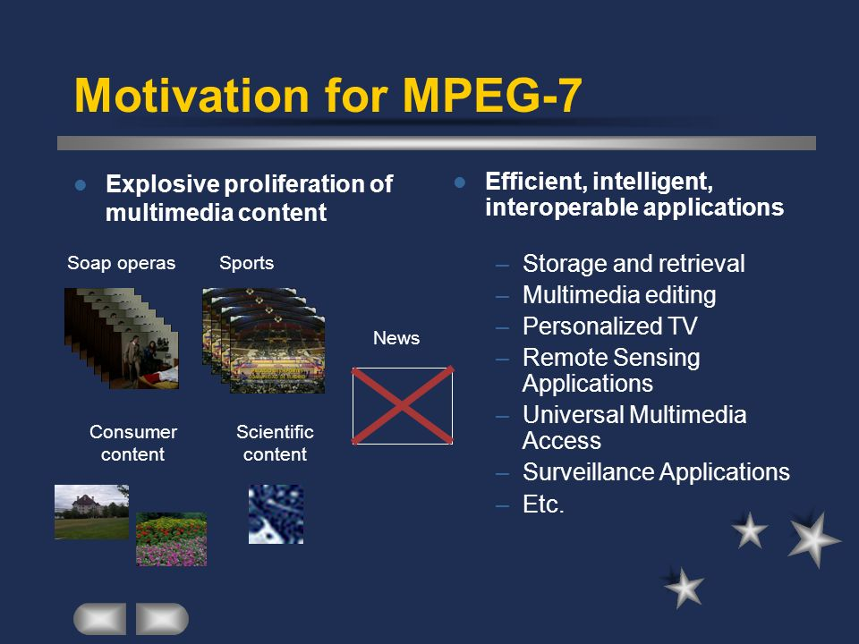 Motivation for MPEG-7 Explosive proliferation of multimedia content