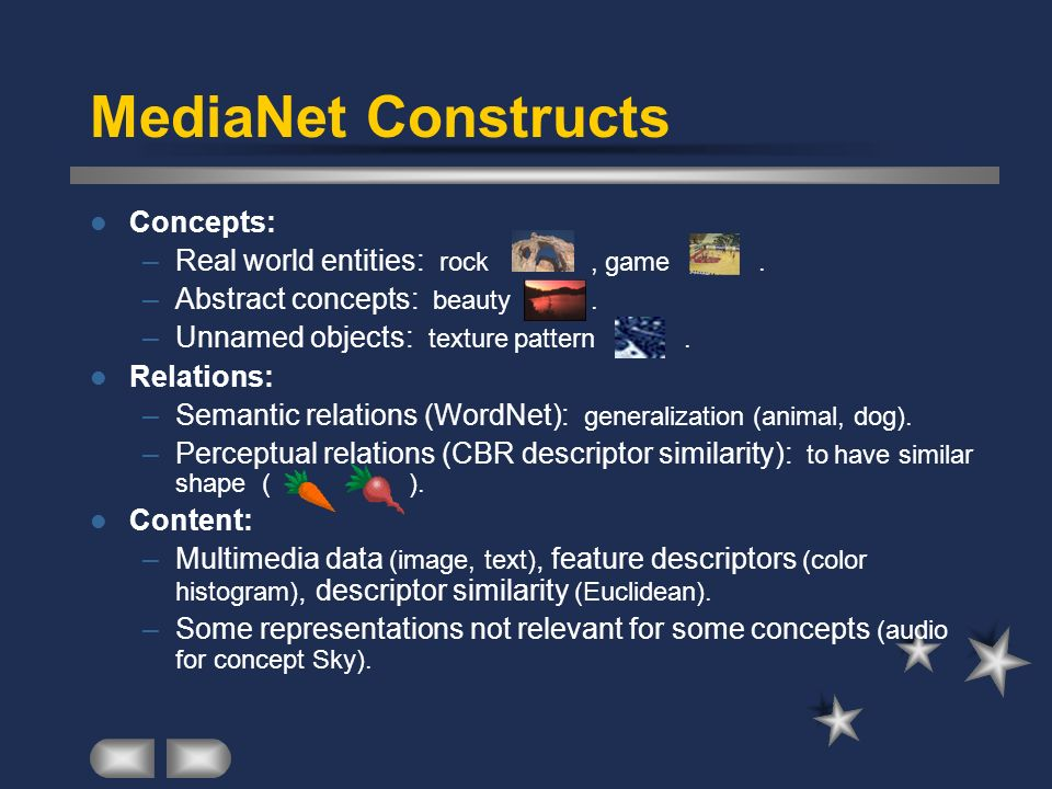 MediaNet Constructs Concepts: Real world entities: rock , game .