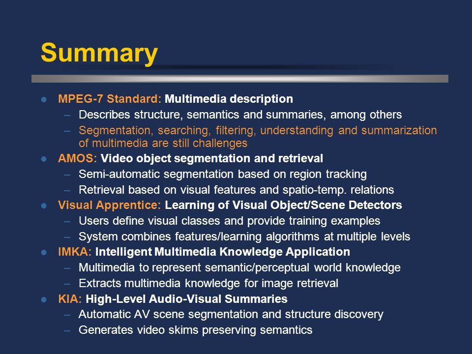 Summary MPEG-7 Standard: Multimedia description