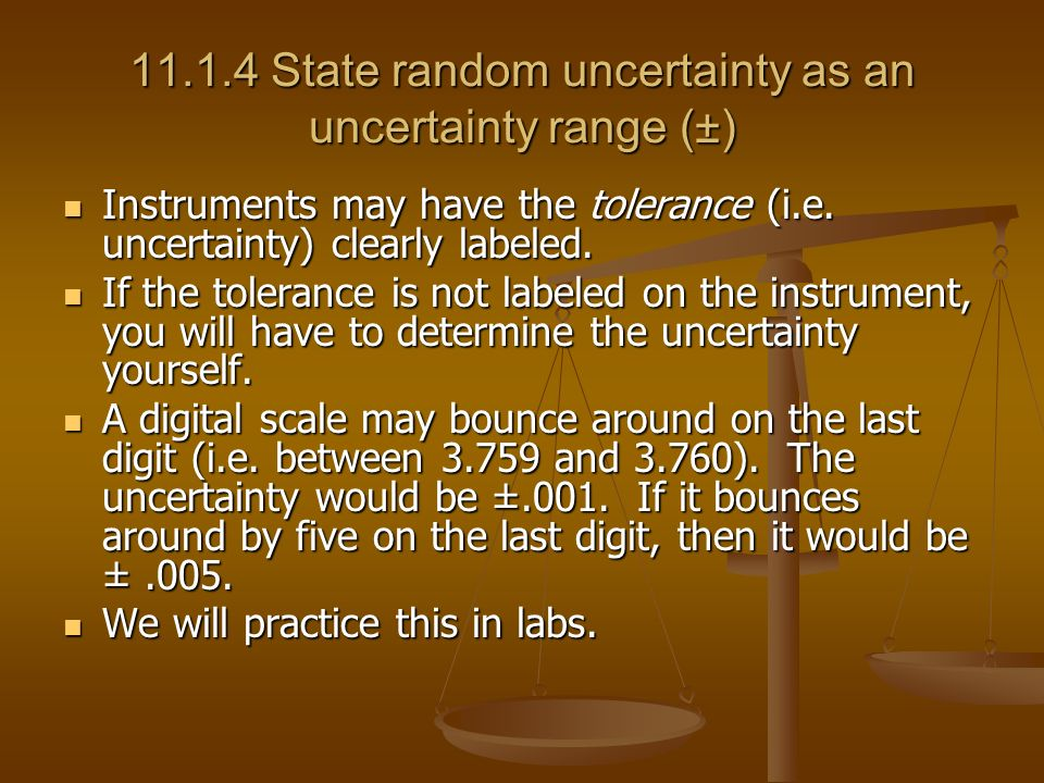 State random uncertainty as an uncertainty range (±)