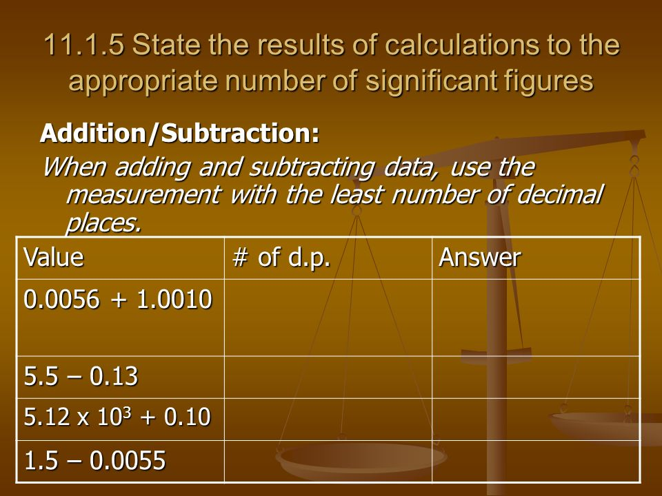 State the results of calculations to the appropriate number of significant figures