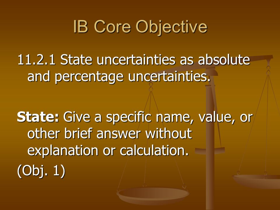 IB Core Objective State uncertainties as absolute and percentage uncertainties.