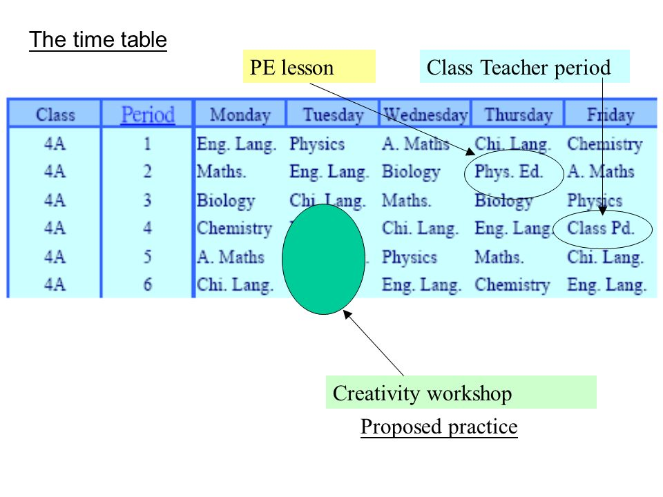 The time table PE lesson Class Teacher period Creativity workshop Proposed practice