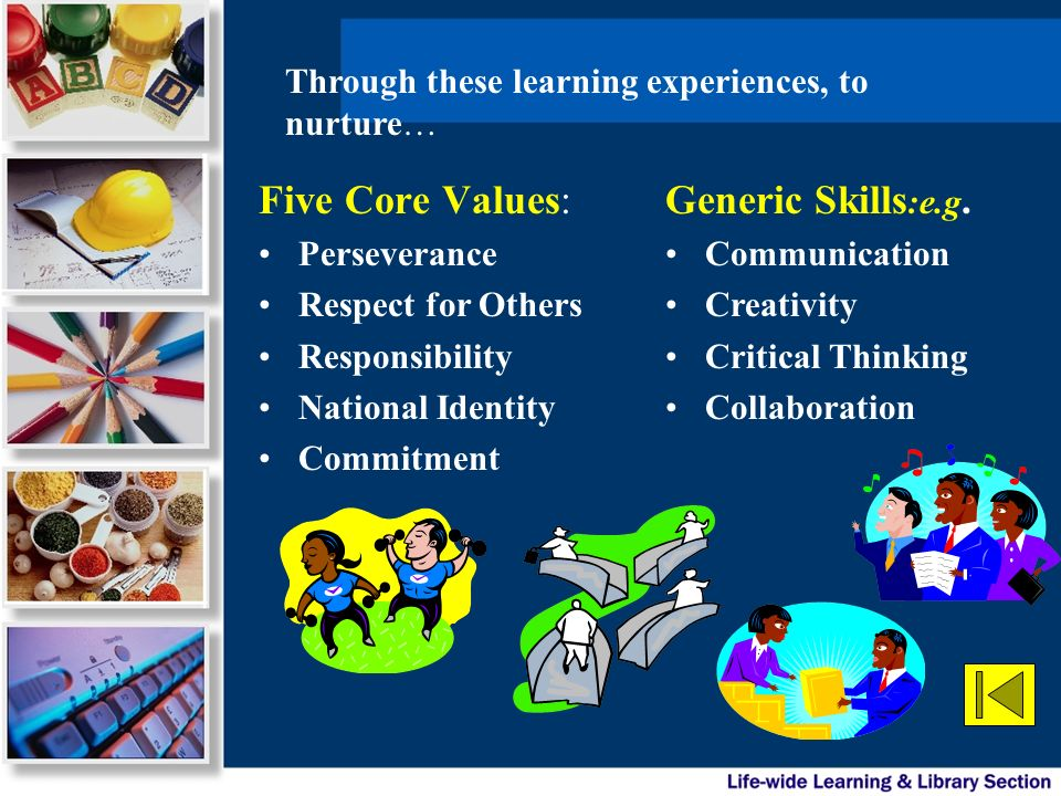 Five Core Values: Generic Skills:e.g.
