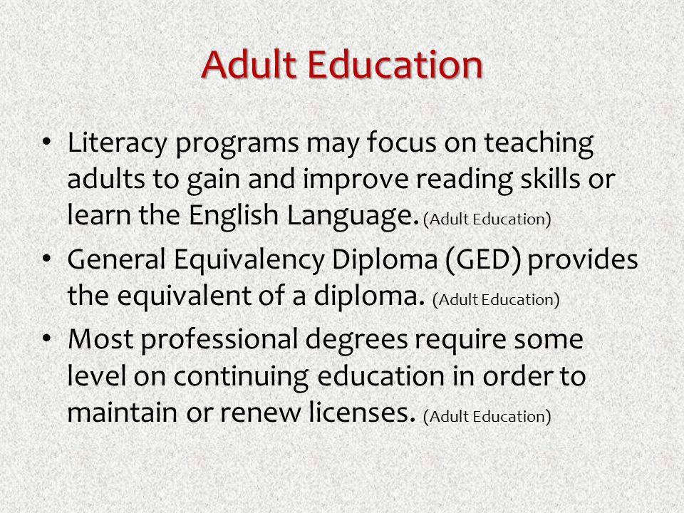 Diploma in adult education something