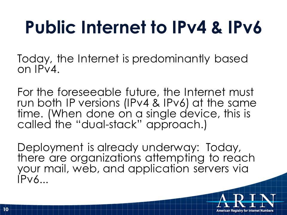 Public Internet to IPv4 & IPv6