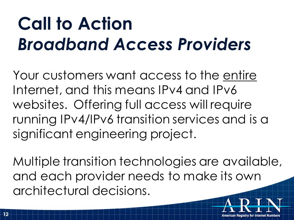 Call to Action Broadband Access Providers