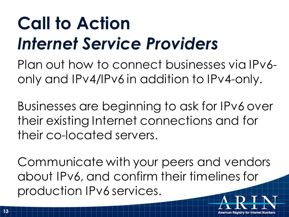Call to Action Internet Service Providers