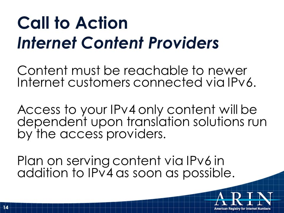 Call to Action Internet Content Providers