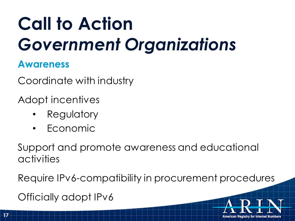 Call to Action Government Organizations