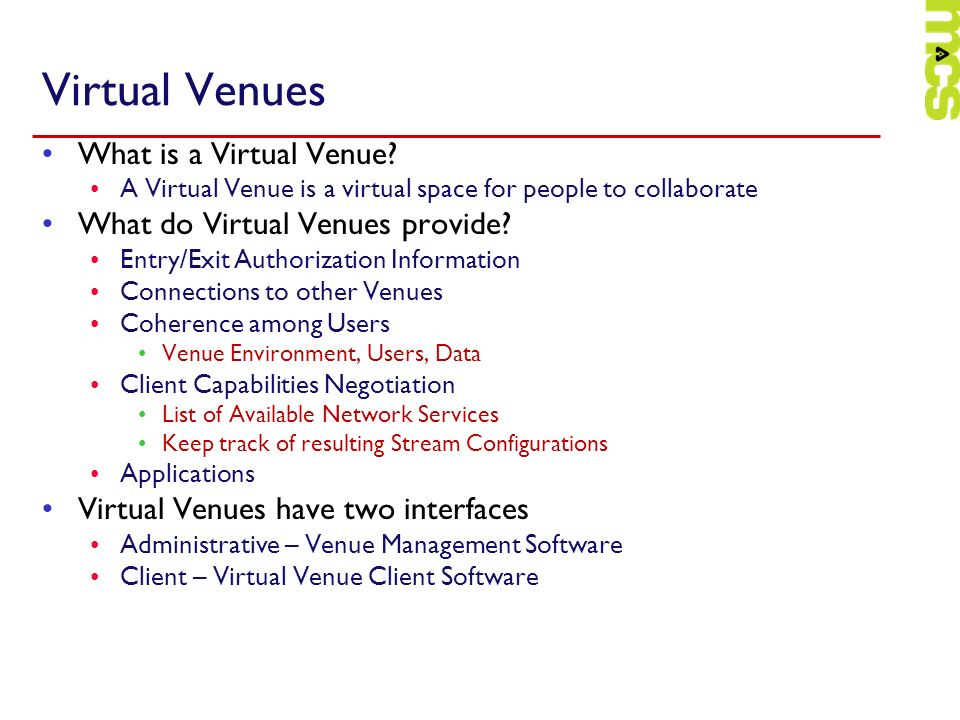 Virtual Venues What is a Virtual Venue