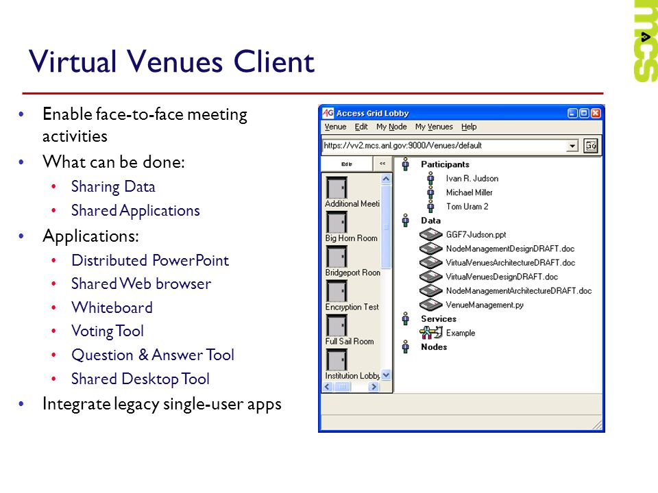 Virtual Venues Client Enable face-to-face meeting activities