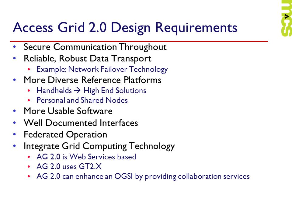 Access Grid 2.0 Design Requirements