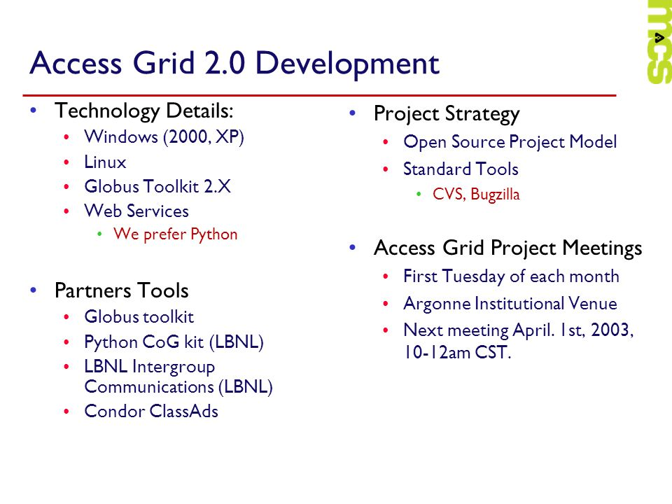 Access Grid 2.0 Development