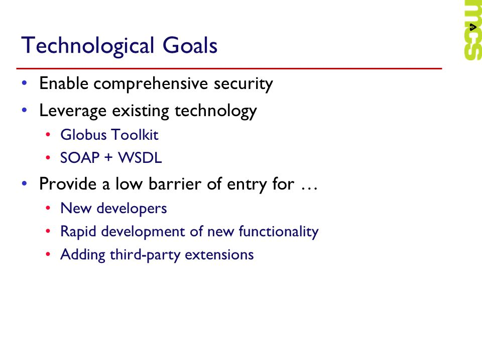 Technological Goals Enable comprehensive security