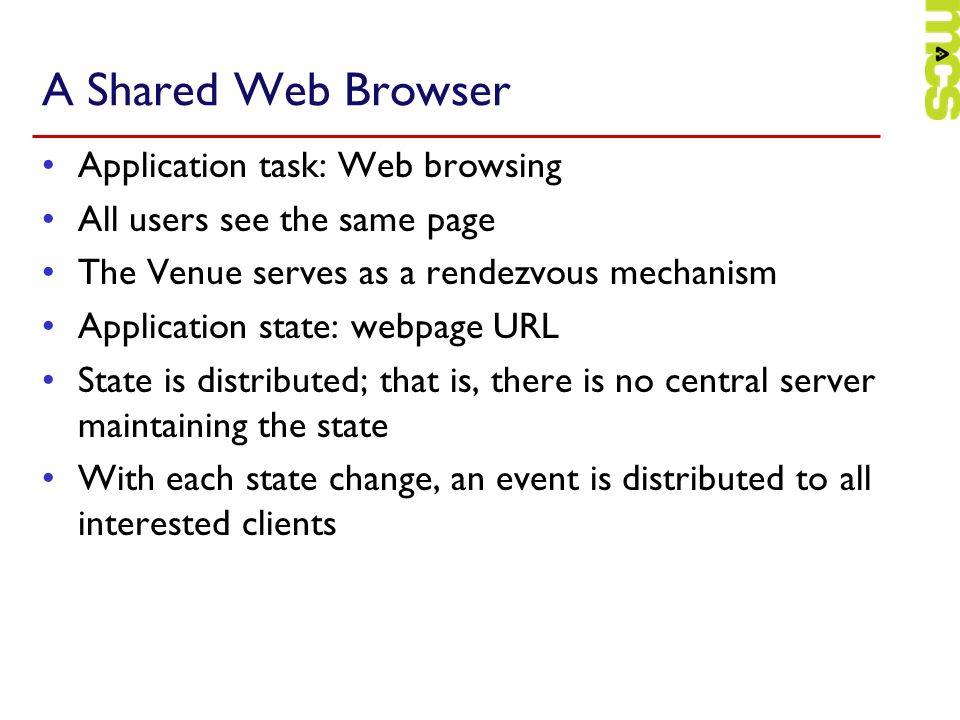 A Shared Web Browser Application task: Web browsing
