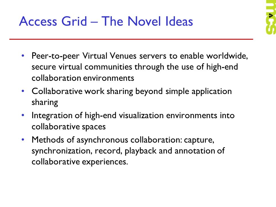 Access Grid – The Novel Ideas