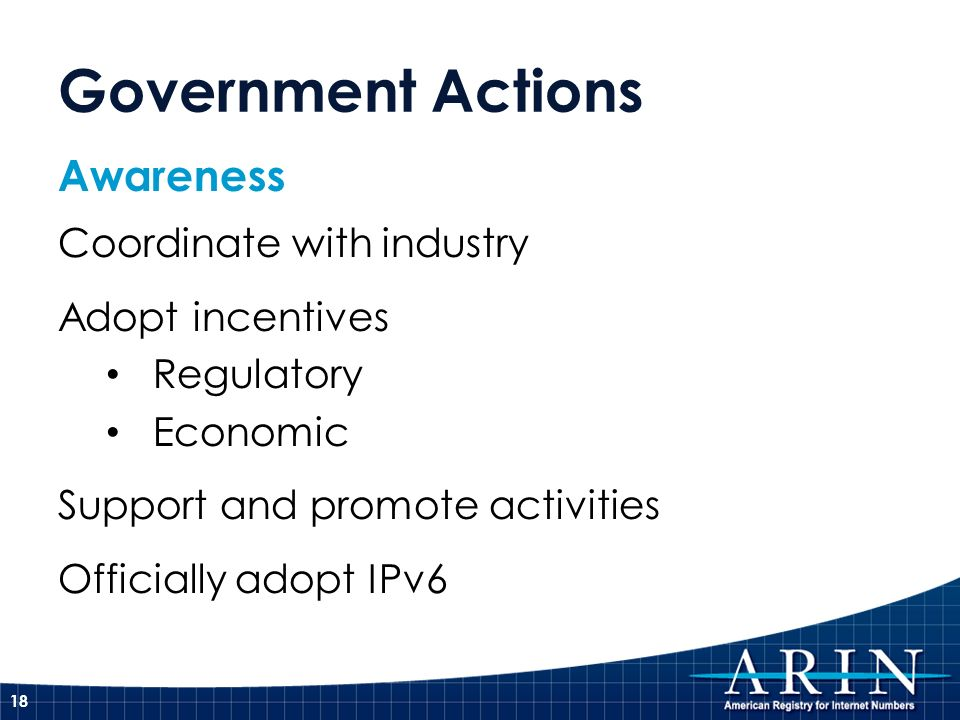 Government Actions Awareness Coordinate with industry Adopt incentives