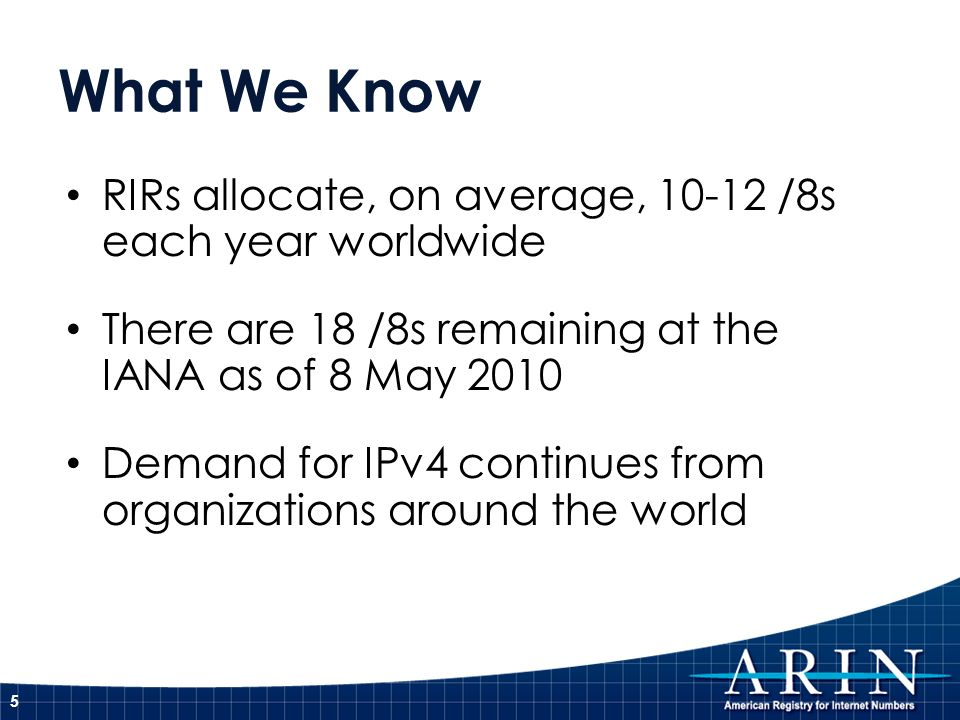 What We Know RIRs allocate, on average, 10-12 /8s each year worldwide