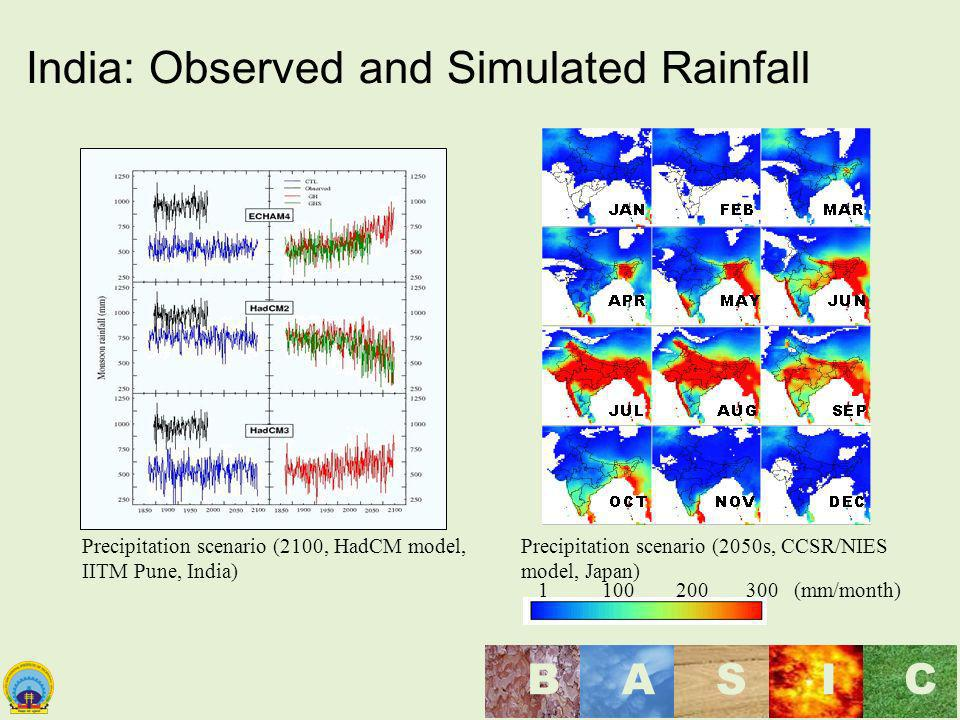 India: Observed and Simulated Rainfall