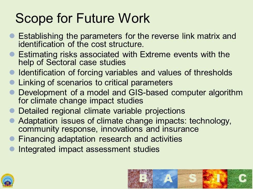 Scope for Future Work Establishing the parameters for the reverse link matrix and identification of the cost structure.