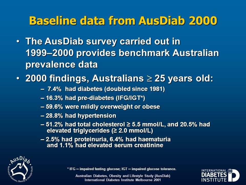 Baseline data from AusDiab 2000