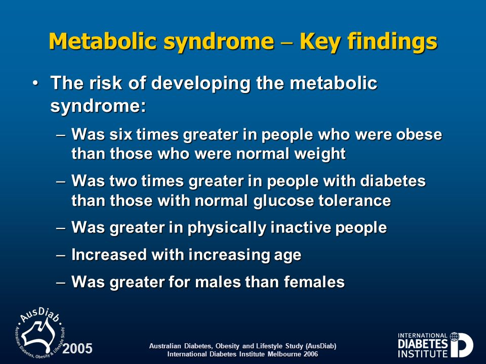 Metabolic syndrome  Key findings